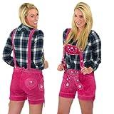 Pinke Damen Trachten Lederhose mit Trägern kurz Größe 40