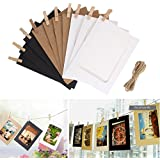 Desi Rang 10 Pcs Black White Khaki Hanging Photo Frame With Natural Wooden Clips And Rope (Outer Size 9 * 9.5 Cm, Inner Size