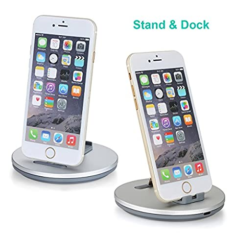 Daite Lighting Port Charge and Sync Dock Station for iPhone, iPad, iPod & Anti-slip Phone Stand Holder Cradle (Silver)