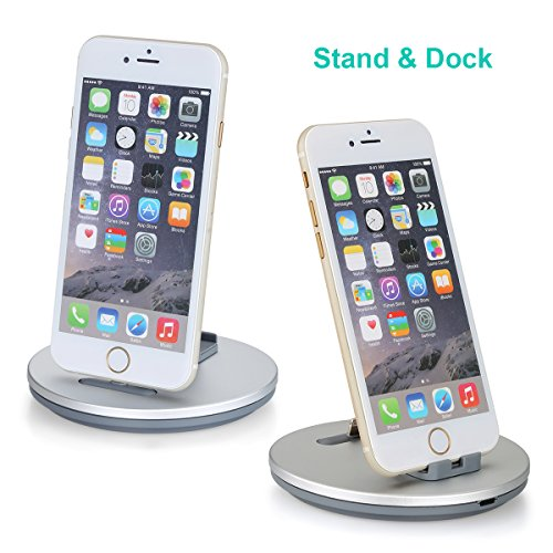 Daite Lightning Port Charge und Sync Docking Station für iPhone, iPad, iPod & Anti-Rutsch Telefon Stand Halter Halter Cradle (Silber)