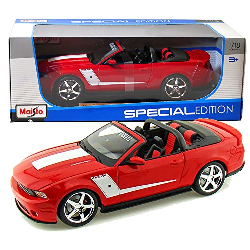 Maisto Year 2014 Special Edition Series 1:18 Scale Die Cast Car Set - Red Color Supercharged Convertible 2010 ROUSH 427R FORD MUSTANG with Display Base (Car Dimension: 10 x 4 x 3 )