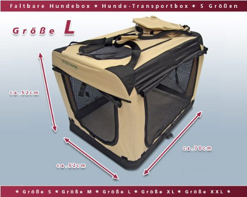 Faltbare Hunde Transportbox / Auto Transportbox L Schwarz-Beige