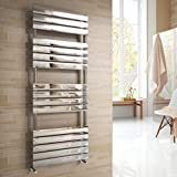 Vicenza Designer Flat Chrome Heated Bathroom Towel Rail Radiator 1600 x 600 mm
