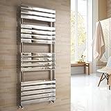iBathUK   1600 x 600 mm Chrome Designer Flat Panel Heated Towel Rail Radiator - All Sizes