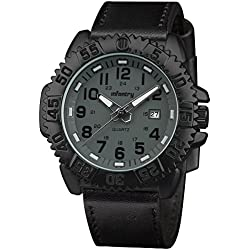 INFANTRY® Mens Analogue Quartz Wrist Watch Grey Dial Night Vision Military Black Leather Strap