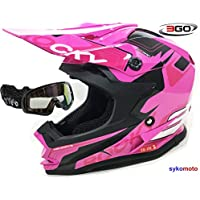 3GO XK188 ROCKY CASCO DE CHICAS NIÑAS MOTOCROSS OFF ROAD ATV QUAD ENDURO ROSA CON GAFAS