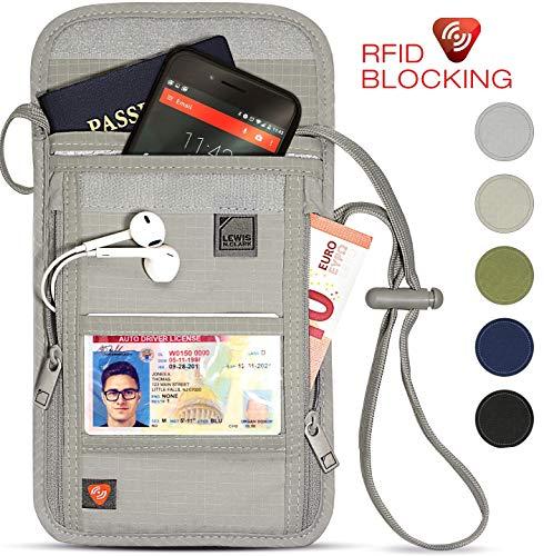 Lewis N Clarks RFID-Blocking Neck Stash Personalausweishülle, Beige