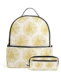 Preisvergleich für Fantazio Rucksäcke und Bleistift-Tasche Rosa Chrysanthemen Schulranzen Set Polyester Tagesrucksack mit Reißverschluss...