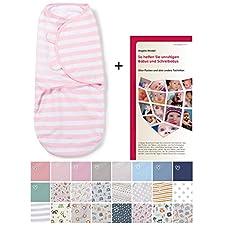 Swaddleme-BP3RS Baby-Groß/Baumwolle/Rosa-weiß-gestreift - Ganzkörper-Pucksack ist ideal bei Schreibabys. Small. Mit 28-seitiger deutscher Puckbroschüre!