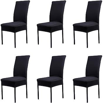 GroBartig Cosyvie Set 6 PCS Bezüge Decken Stuhl Ausziehbar Und Waschbar Für Schutz Stuhl  Esszimmer Schwarzen