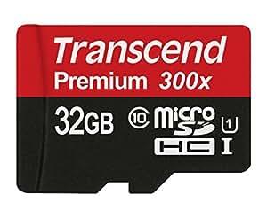 Transcend 32 Go Carte mémoire microSDHC Classe 10 UHS-I 300x avec adaptateur TS32GUSDU1E [Emballage « Déballer sans s'énerver par Amazon »]
