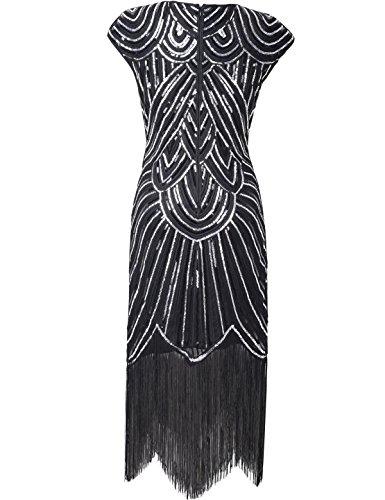 PrettyGuide Damen 1920er Gastby Diamant Pailletten verschönert mit Fransen Flapper Kleid Schwarz