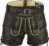 Lederhose mit Gürtel-Echt Leder Nappa antik Trachten Lederhose kurz, Damen Trachtenlederhose mit Gürtel in Schwarz (34, Schwarz)