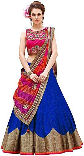 Fashion2Wear Women's Latest Designer Banglori Silk Stylish Semi-Stitched Lehenga Choli