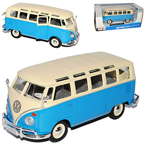 alles-meine.de GmbH VW Volkswagen T1 Blau Weiss Samba Bully Bus 1950-1967 1/25 1/24 Maisto Modell Auto mit individiuellem Wunschkennzeichen