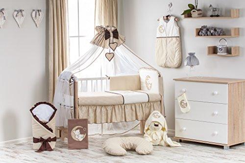 Set: Schwarz Babybett 120x60 cm mit Bettwäsche und Schaum Matratze Gratis Himmel Gitterbett Kinderbett ekmTRADE (Braun) (Bettwäsche-schaum)