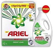 Ariel Matic Front Load Detergent Combo (Powder + Liquid) – 4 + 2 KG Washing Powder with 1 Liter Matic Liquid F