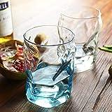 Glass Cup_Cold Bebida Coca Cola Jugo Leche Yogurt Cup Hogar Europeo Color Transparente Creativo Restaurante de moda Taza de té azul B
