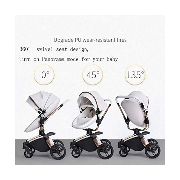 HZC Baby Stroller Bassinet Carriage 3-in-1 Shock-Resistant High Landscape Luxury Pram Stroller for Newborn and Toddler (Color : A) HZC ✔ Completely designed with Safety standard, 100% PU leather material of Egg Seat and Bassinet, this perfect match feel more luxurious and fashionable and easy to clean ✔ In the sleeping basket mode, the 360-degree rotation function allows the cart seconds to change the cradle, sitting and lying double mode, switching in any way ✔ DOCTOR recommends: Newborns are not fully developed due to bone development. A sleeping basket stroller is recommended. The baby's skull is not long, the neck and spine are very fragile. In the baby stroller with poor shock resistance, it is easy to cause physical damage to the baby! 8
