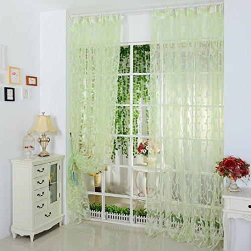 Amlaiworld foglia di puro sipario tulle trattamento finestra voile drappo 1 pannello tessuto (verde)