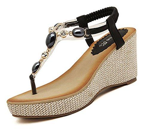 Minetom Damen Mädchen Wedge Sommerschuhe Strappy Strass Peep Toe Sandalen mit Keilabsatz Zehentrenner ( Schwarz EU 37 ) -