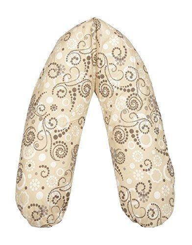 Joyfill - coussin de grossesse/allaitement/positionnement Flexolax - avec flocons en latex Talatay - Midi 170 x 34 cm - 558 happy dots, beige