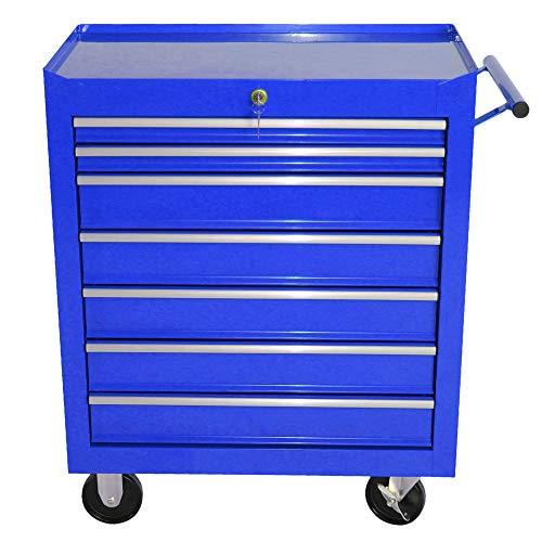 Jalano Werkstattwagen Rollwagen 7 Schubladen abschließbar Werkzeug Wagen Rollen, Farbe:Blau