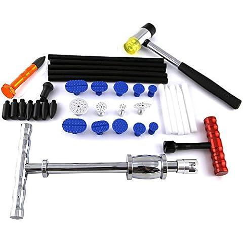 32Pezzi Kit di riparazione Dent–PDR martello scorrevole con rubinetto–Paintless Dent Repair–PDR colla Tabs Dent