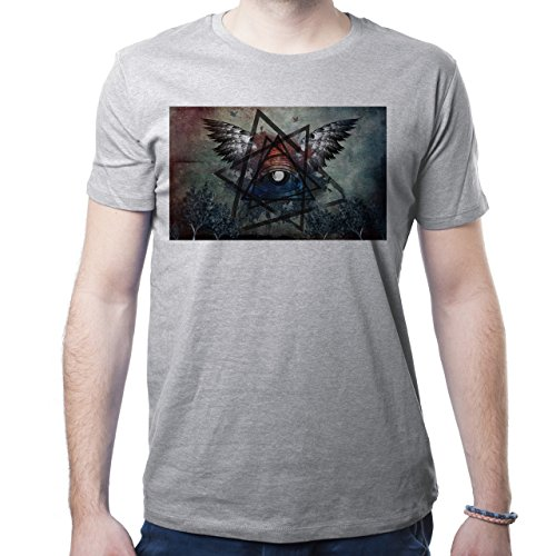 Illuminati Triangle Art Majestic Wings Eyes Chaos Herren T-Shirt Grau