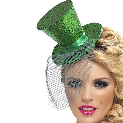 St Patrick Tag Shamrock Kobold Top Hut Stirnband Kostüm Zubehör Grün Kleiner Hut Haarreif mit Kleeblatt als Glücksbringer für St. Patricks Day & Silvester (A)