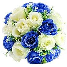 Turelifes fatti a mano sposa bouquet di fiori artificiali per bouquet di rose brides mano azienda blue&cream
