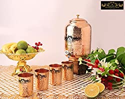 Crockery Wala and Company Premium Quality 4 Ltr Copper Water Dispenser with Designer Brass Knob And Four Copper Hammered Glasses by Crockery wala and Company, 99.5% Pure Copper matka for kitchen enhances health