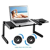 Lapdesk Computer portatile Stand Tavolo Scrivania ergonomica Scrivania con supporto per mouse Montaggio laterale | Leggera ergonomica TV Bed Lap Tray Stand Up / Sitting-Black (Cool Fan)