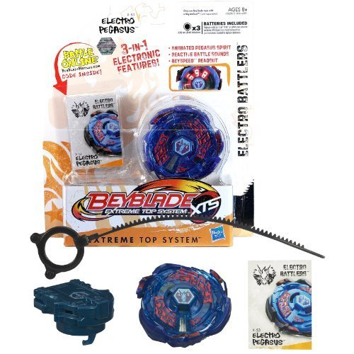 Hasbro Year 2011 Beyblade Extreme Top System XTS Electro Battlers : X-53 ELECTRO PEGASUS with 3 in 1 Electronic Features (Animated Pegasus Spirit, Reactive Battle Sounds and Beyspeed Readout) Plus Spin Launcher, Ripcord and Battle Online Code by Beyblade