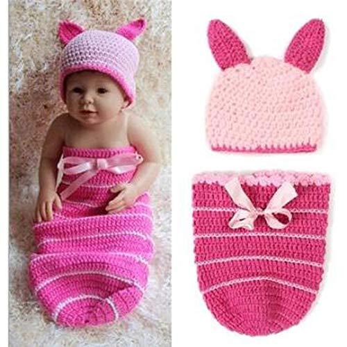 (W&P wp Neugeborene Fotografie Kostüm Baby-Handstrickendes Kaninchen-Schlafsack-Fotografie-Satz)