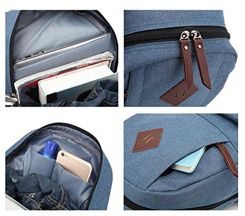 TDC Rucksack Schultasche Computer Tasche Damen Herren Retro Oxford Tuch Student Backpack Laptoprucksäcke Unisex Große Kapazität Freizeit Outdoor Schwarz