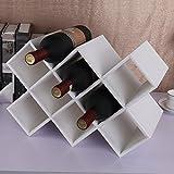 XPY&DGX vino botellas Botelleros Europeo ocho-enrejado blanco estante de madera sólido del vino de cuero de la PU decoración creativa casera 415 * 200 * 280 mm