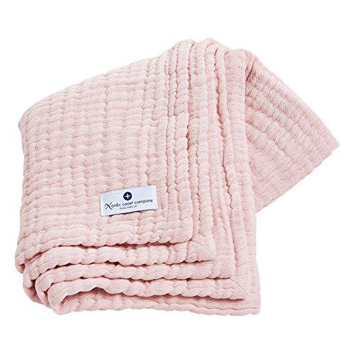 Musselintuch aus Musselin Stoff | 4 in 1 nordic coast Baby Krabbeldecke rosa| Ideal als Mulltücher, Babydecke & Pucktuch Baby oder Spucktücher Baby