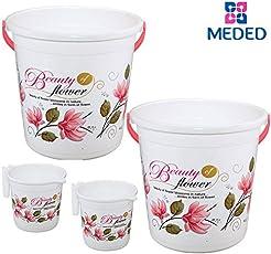 Siti Plast Bathroom Bucket 22 Liters & Mug 1.5 Liters, Set of 2 each, White & Pink