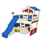 WICKEY Etagenbett CrAzY Castle Doppel-Kinderbett 90x200 Hochbett mit Rutsche, Treppe, Dach und Lattenboden, rot-blau + blaue Rutsche + weiße Farbe