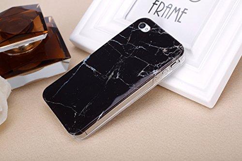 Etsue pour [ iPhone 4/4S ] Doux Protecteur Coque,TPU Matériau Frame est Transparent Soft Cover pour iPhone 4/4S,Marbre Motif par Dessin de Mode Case Coque pour iPhone 4/4S + 1 x Bleu stylet + 1 x Blin Noir
