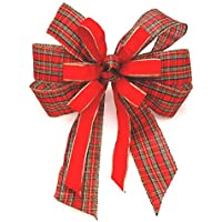 Fabulous Fascinators Red and Tartan Large Tree Topper Garland Christmas Bow Decoration