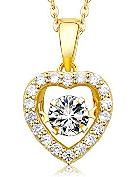 """MEGA CREATIVE JEWELRY 925er Silber Vergoldet Damen Halskette """"Mein Herz tanzt"""" mit Kristallen von SWAROVSKI Kette..."""