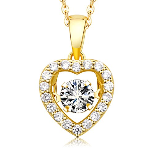 MEGA CREATIVE JEWELRY Damen Kette Goldenes Herz aus 925 Sterling Silber mit Kristallen von Swarovski