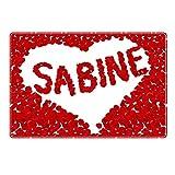 Tischset mit Namen ''Sabine'' Motiv Rosenherz - Tischunterlage, Platzset, Platzdeckchen, Platzunterlage, Namenstischset