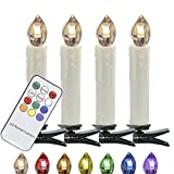 HJ® 40 Set Warmweiss LED Weihnachtskerzen kabellos Kerzen Lichterkette mit Fernbedienung Flammenlose Wasserdichte Dimmbar LED Baumkerzen