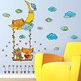GOUZI Kind Paar 猫 Hintergrund White Cloud Sterne tierische Persönlichkeit 107 * 95 cm. Wall Sticker Abnehmbare Wall Sticker für Schlafzimmer Wohnzimmer Hintergrund Wand Bad Studie Friseur