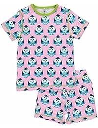 MAXOMORRA Mädchen Pyjama Rosa Blau Eule Kinder 2-teilig Gots BioBaumwolle
