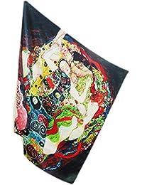 Prettystern - 110cm oversize crêpe satin lourd SILK (16mm d'épaisseur) Foulard Stole handroulier de soie Nouveau - Gustav Klimt