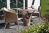 Ratán Muebles de jardín - Jardín y al aire libre Bistro Set 2 personas - mesa redonda con 2 x sillones y cojines - Diseño elegante. A prueba de la intemperie. Marco de aluminio. mesa redonda sobre el pie de acero inoxidable - sala de estar Bistro - marrón
